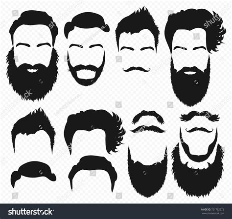 Hairstyle Tools Designs For Silhouette by Vector Hair Beard Shapes Design Stock Vector 721762972