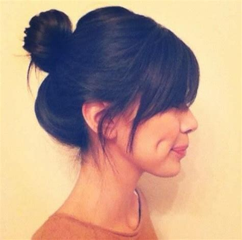 images of a messy bun with bang no hair out 17 best ideas about side swept bangs on pinterest hair