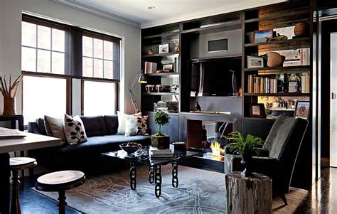 Masculine Living Room Decor by Masculine Interior Design Apartment In Greenwich Village