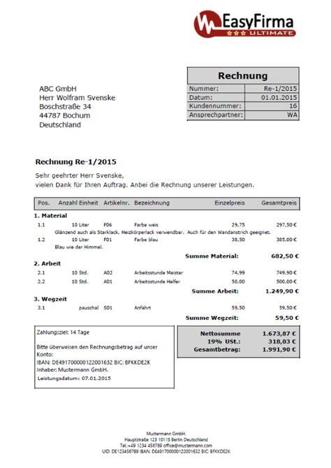 Vorlage Rechnung Umzug Rechnungsvorlagen Muster Beispiele Information