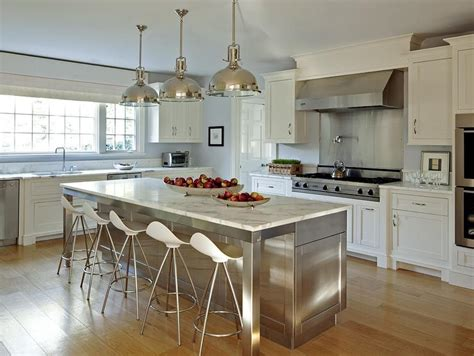 kitchen island metal stainless steel kitchen island with marble countertops and onda barstools transitional kitchen
