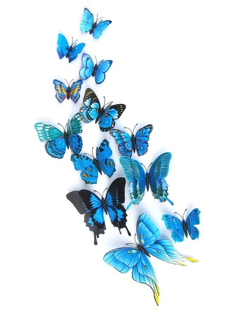 Stiker Dinding Butterfly 3d 12pcs 2018 12pcs 3d butterflies magnet diy home decor wall stickers blue in wall stickers store