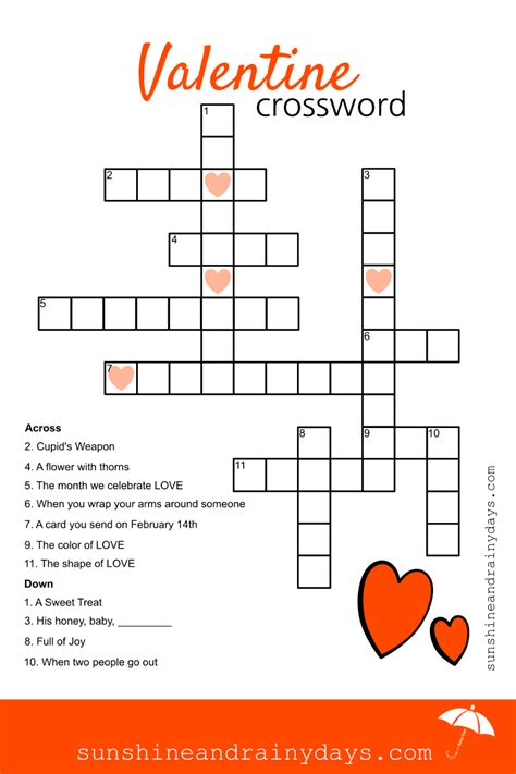 valentines puzzle crossword puzzle and rainy days