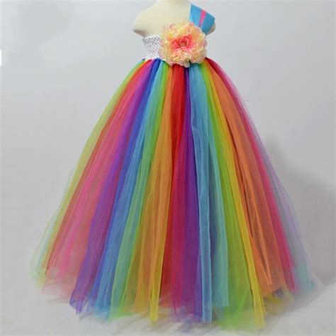 rainbow colored dresses rainbow colored tutu flower s dresses one shoulder a