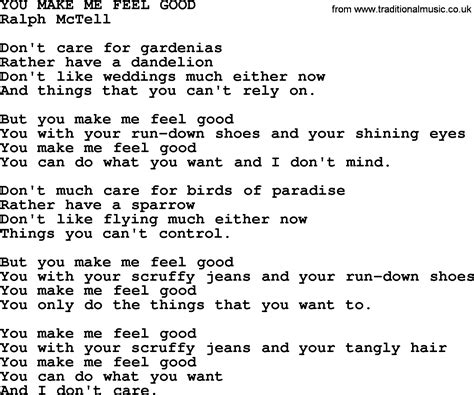 how to make proper chords you make me feel good txt by ralph mctell lyrics and chords