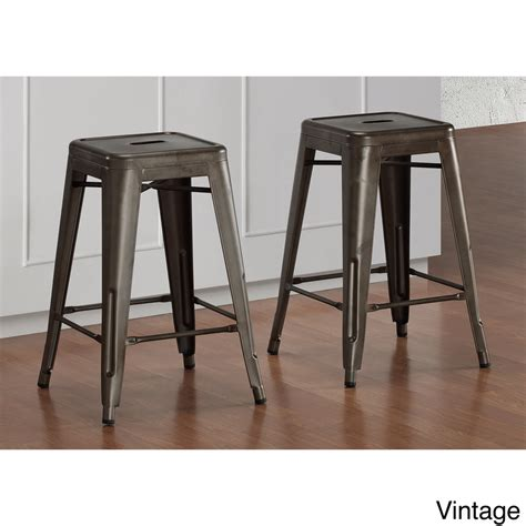 Overstock Stools by Tabouret 24 Inch Vintage And Gunmetal Counter Stool Set