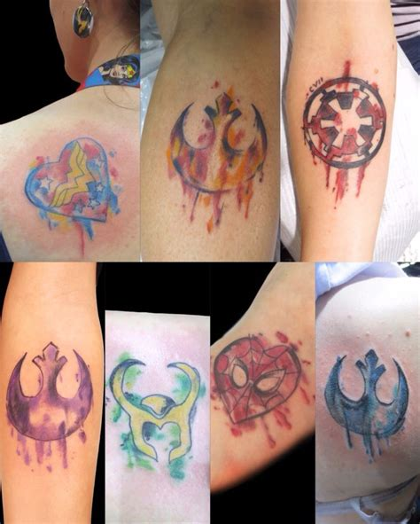 watercolor tattoo artists dc watercolor tattoos by nick starwars marvel dc