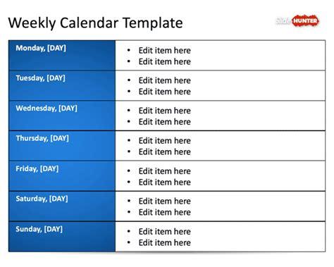 Powerpoint Calendar Template Weekly Free Weekly Blank Calendar Template For Powerpoint Free