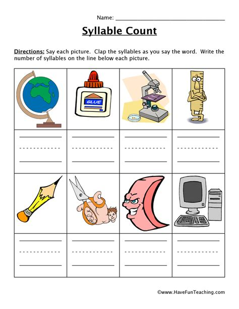 6 Syllable Types Worksheets by Syllable Worksheet Teaching