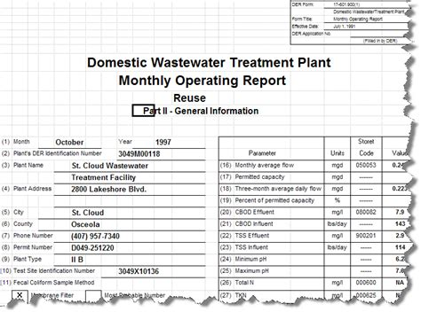 monthly operating report sle florida wastewater report templates q11413