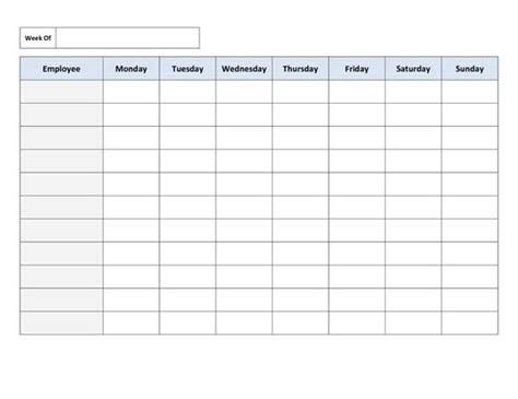 printable work schedule template mondays portrait and chang e 3 on