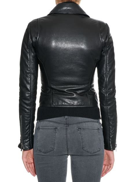 classic leather jacket balenciaga classic leather biker jacket in black lyst