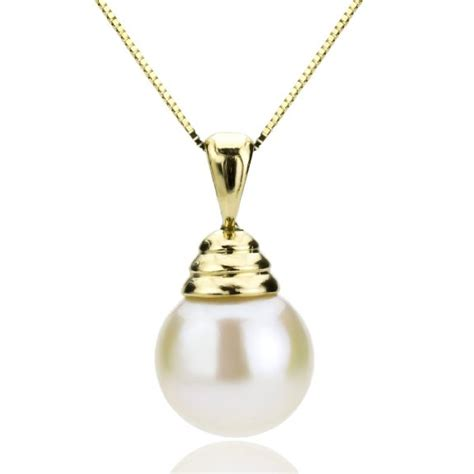 14k yellow gold cultured pearl pendant necklace 90