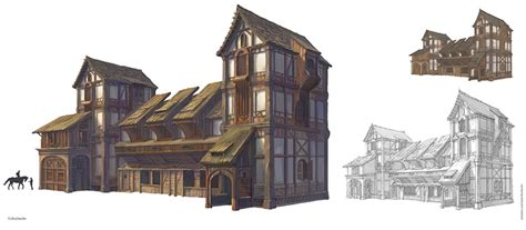 English Tudor Home by Medieval Buildings And Towns For Concept Art Inspiration