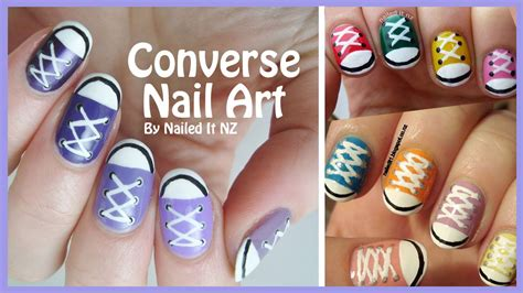 tutorial nail art converse diy converse nail art youtube