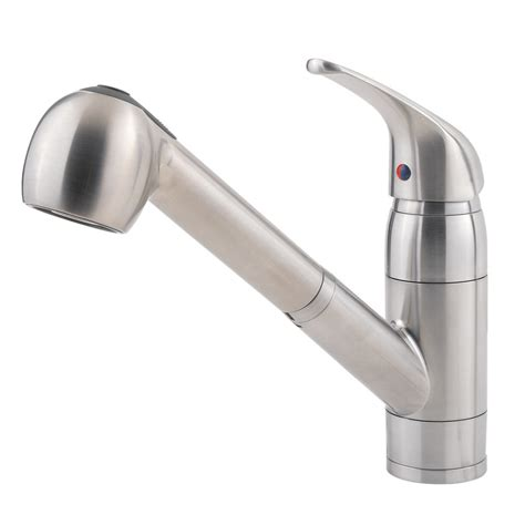 shop pfister pfirst stainless steel 1 handle pull out kitchen faucet at lowes