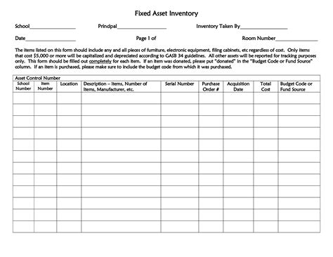 fixed asset inventory list template and sheet sle vlashed