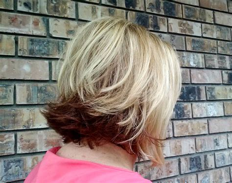 blonde bobbed hair with dark underneath lorna s work hair we are salon renton