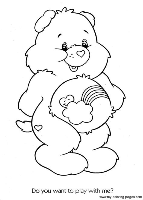 coloring page bear with heart care bears coloring 108 crafty 80 s care bears