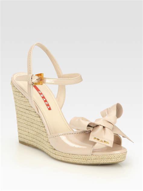 prada wedge sandals lyst prada patent leather espadrille wedge sandals in