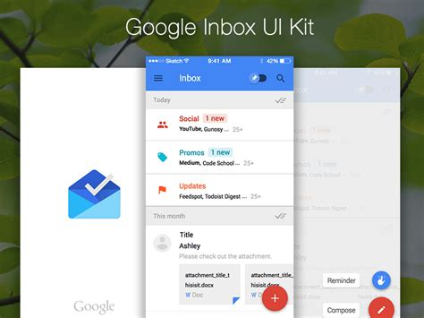 google design ui kit google inbox mockup sketch freebie download free