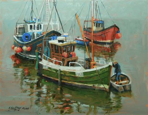 fishing boat artists quot three fishing boats quot oil painting by frank gaffney