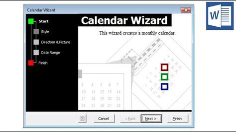 ms word calendar wizard  install    calendars
