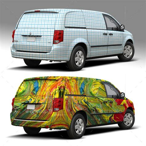 2014 Dodge Caravan Wrap Mockup By Pascau Graphicriver Smart Car Wrap Template
