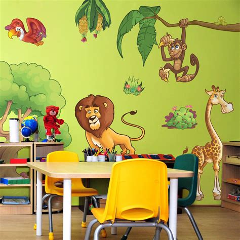 jungle animals wall stickers childrens jungle animals wall stickers by the binary box