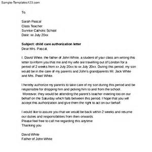 sample child care authorization letter sample templates