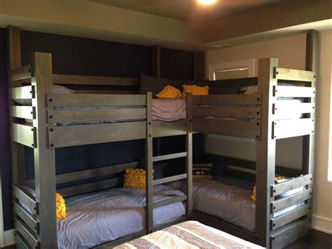 Custom Corner Twin Over Twin Bunk Bed With Integrated Corner Loft Bunk Beds