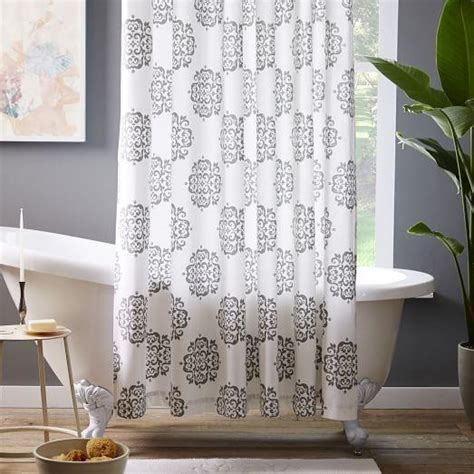 west elm medallion shower curtain scroll medallion shower curtain feather gray i west elm