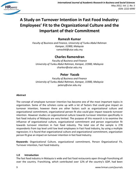 Mba Project Report On Organizational Culture Pdf by A Study On Turnover Intention In Fast Pdf