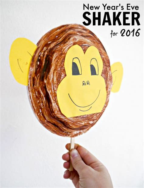 new year of the monkey crafts monkey plate shaker for new year s make and takes