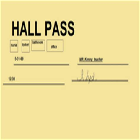 hallway pass hall pass for roblox high school roblox