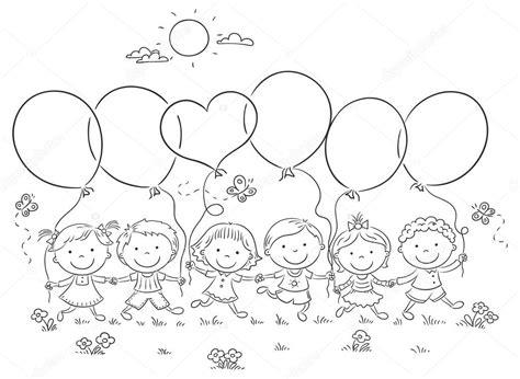 Con Outline by Bambini Con Contorno Di Palloncini Vettoriali Stock 169 Katerina Dav 70936571