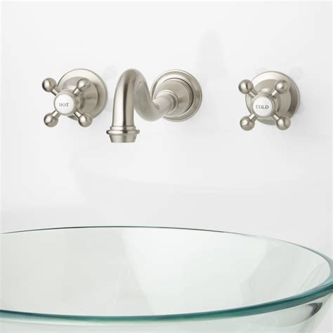 Ballantine Wall Mount Bathroom Faucet Cross Handles Wall Faucet Bathroom