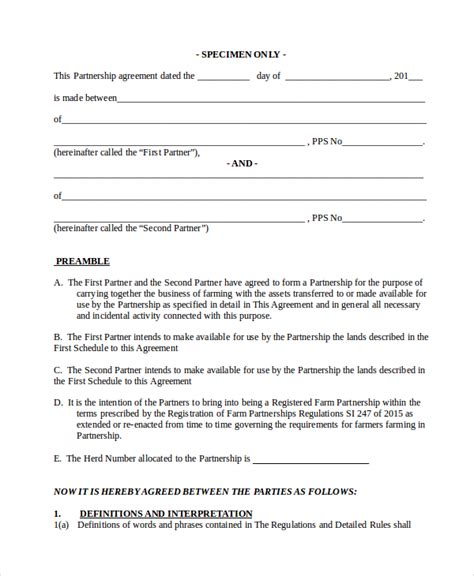 business partnership agreement template business partnership agreement 8 free pdf word