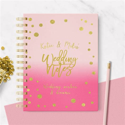 Wedding Notebook by Personalised Wedding Notebook Pink By August Grace