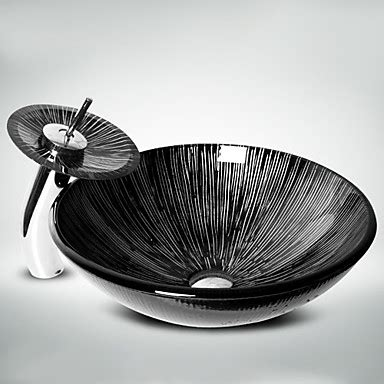 Black And White Vessel Sink by Black White Tempered Glass Vessel Sink With