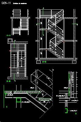 escaleras en corte frontal escalera met 225 lica de dos tramos dwgdibujo de autocad