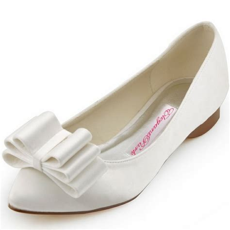 white satin flat shoes free shipping fc1406 white pointed toe bow comfortable