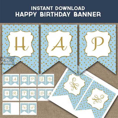 printable happy birthday banner blue happy birthday banner blue gold dots nifty printables