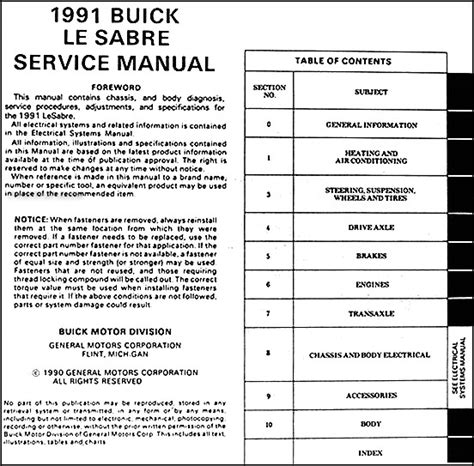 1991 buick lesabre repair shop manual original