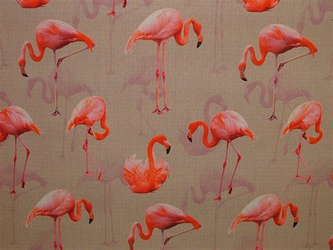 flamingo upholstery fabric pink flamingo on a natural linen look fabric photo digital