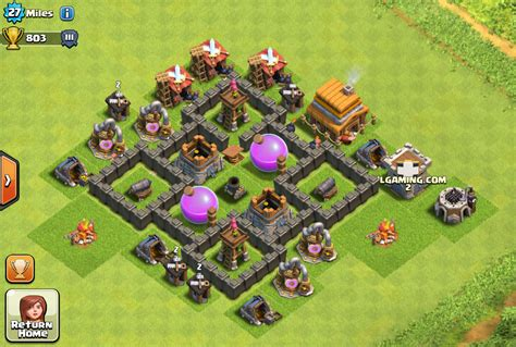 layout coc town hall level 4 clash of clans base designs per town hall walkthrough