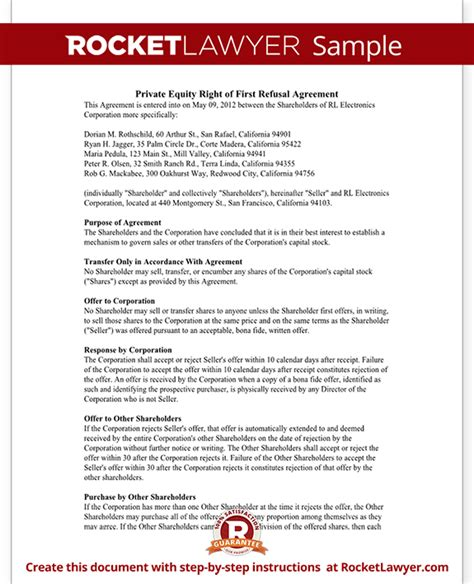 Right Of First Refusal Contract For Shares First Right Of Refusal Agreement Template For Business Equity Agreement Template