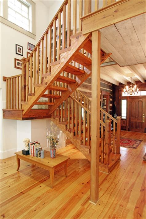 Atlanta Floor And Decor log cabin open staircase reclaimed wood
