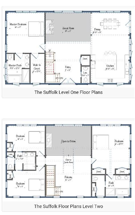 floor plans for 40x60 house 2 story barndominium plan pinteres
