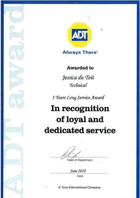 long service award certificate